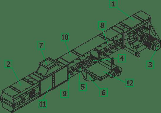 Секция скребкового транспортера транспортер на немецкий